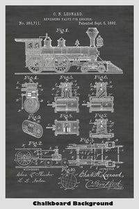 Delightful example of a late 1800's locomotive as showin in its patent drawing.