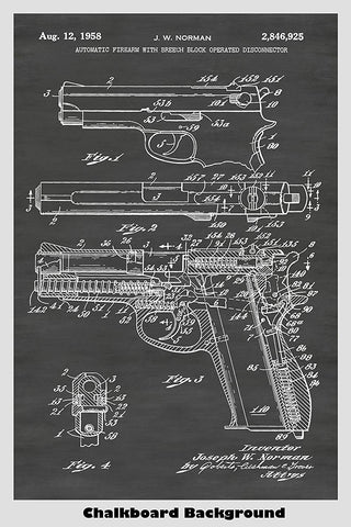 Smith & Wesson Pistol Patent Print Art Poster