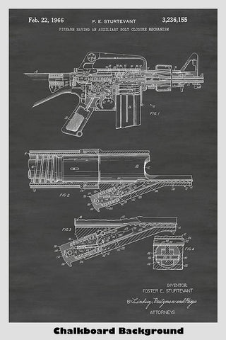 Colt Automatic Rifle Patent Print Art