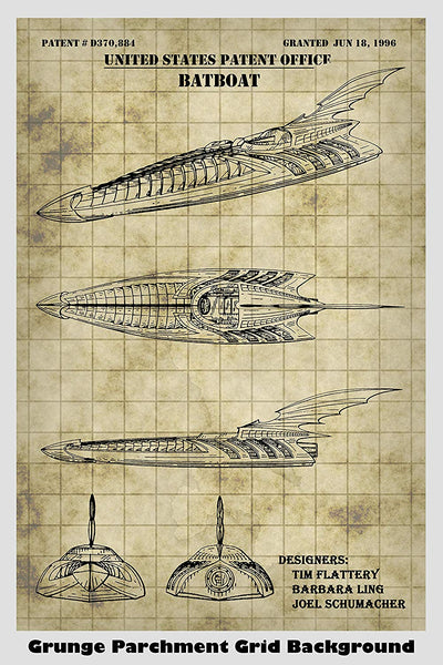Batman's Batboat Patent Print Art Poster
