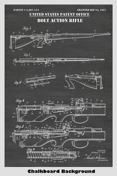 Bolt Action Rifle Automatic Reloading Mechanism Poster Patent Print Art
