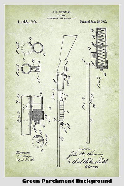 Browning Remington 17 Hunting Shotgun Patent Print Art Poster