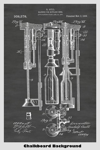 Antique beer bottling machine patent poster