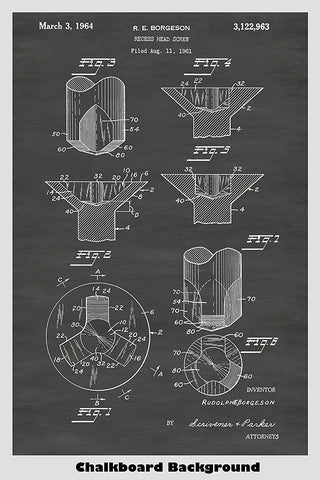 Phillips Recess Head Screw Patent Print Art Poster