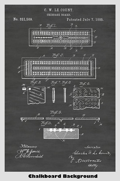 Cribbage Board Patent Print Art