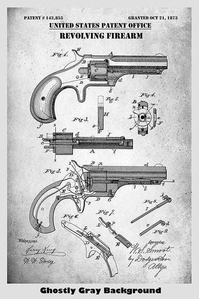 1873 Remington Smoot Revolver Patent Print Art Poster