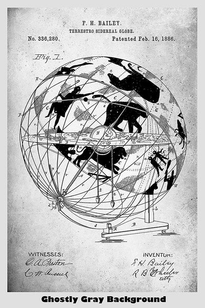 Terrestro Sidereal Globe Patent Print Art Poster