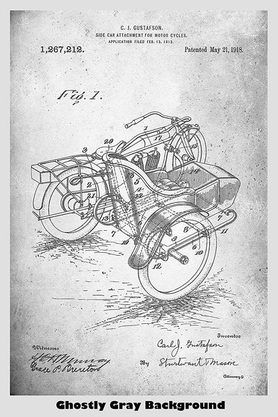 Motorcycle Sidecar Patent Print Art Poster