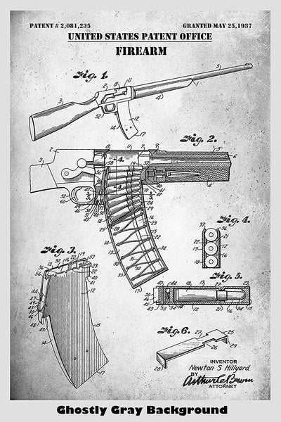 Remington Police Model 8 Rifle Patent Print Art Poster