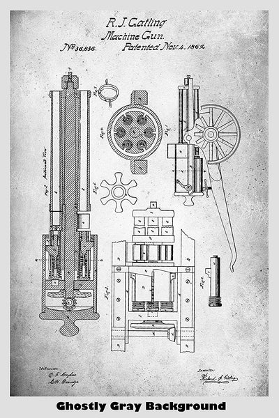 Gatling Machine Gun Patent Print Art Poster