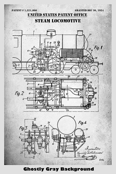 Steam Locomotive Patent Print Art Poster