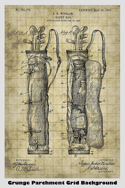 Vintage Golf Caddy Bag Patent Print Art Poster