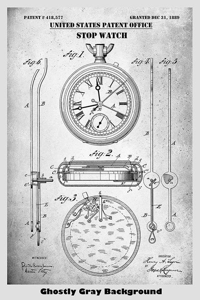 Stopwatch Poster Patent Print Art Poster