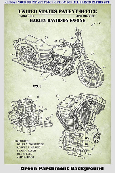 Harley Davidson Motorcycles and Engines Patent Print Art Posters Wall Decor Collection
