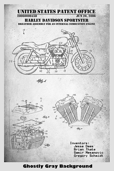 Harley Davidson Sportster Motorcycle Patent Print Art Poster