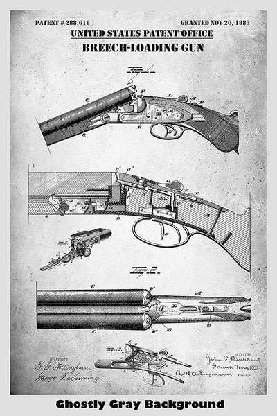 Breech Loading Shotgun Patent Print Art Poster