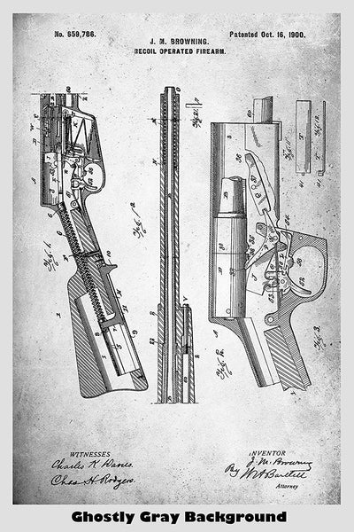 Browning Recoil Rifle Patent Print Art Poster