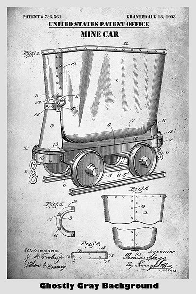 Mine Car Poster Patent Print Art Poster