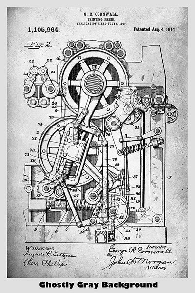 Printing Press Patent Print Art Poster