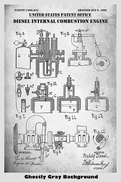 Diesel Internal Combusion Engine Patent Print Art Poster