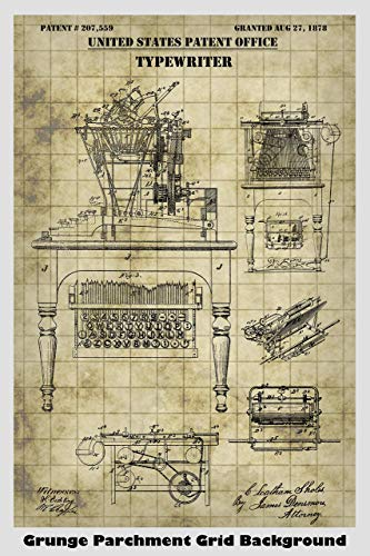 Antique Typewriter Patent Print Art Poster