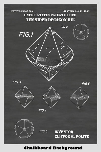 D10 Ten Sided Decahedral Polyhedron Dice For Role Playing Game: Dungeons & Dragons, Pathfinder, MTG, Etc. Patent Print Art Poster