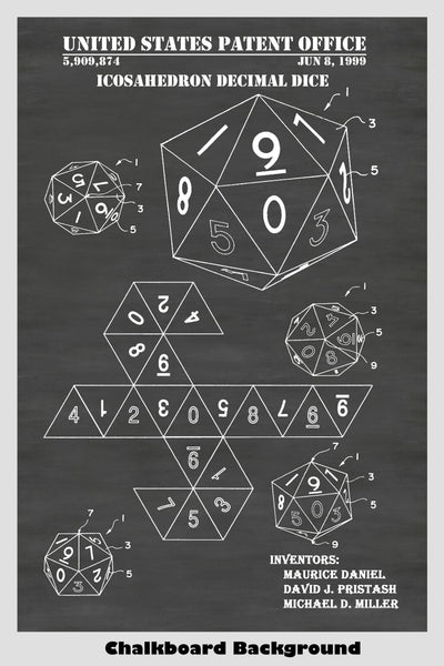 D&D D20 Icosahedron Decimal Dice Patent Print Art Poster For Role Playing Game: Dungeons & Dragons, Pathfinder, MTG, Etc.