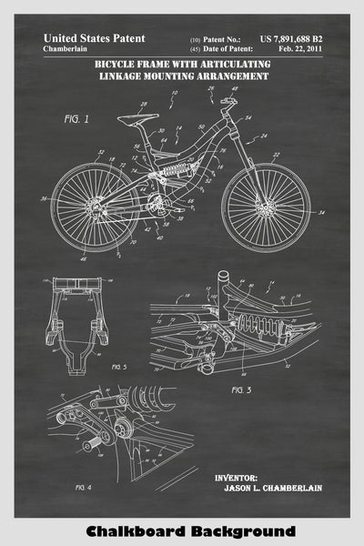 Mountain Bicycle Patent Print Art Poster Showing Articulating Frame Construction of Bike