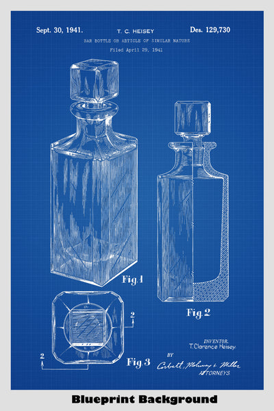 Whiskey Decanter Bar Bottle Patent Print Art Poster