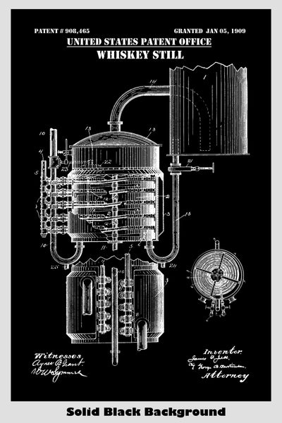 Vintage Whiskey Moonshine Still Patent Print Art Poster