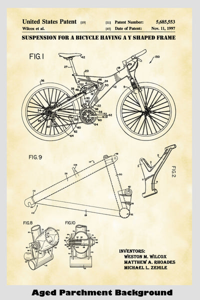 Mountain Bike Patent Print Art Poster Showing Frame Construction of Bike