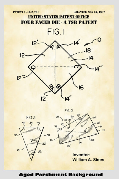 D4 Four Sided Tetrahedral Polyhedron TSR Die For Role Playing Game: Dungeons & Dragons, Pathfinder Etc. Patent Print Art Poster