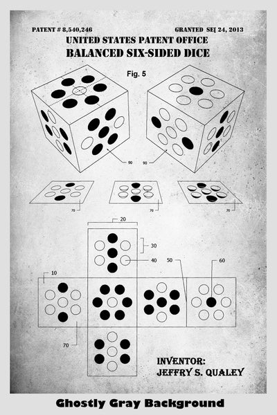 D6 Hexagon Polyhedron Dice For Role Playing Game: Dungeons & Dragons, Pathfinder Etc. Patent Print Art Poster