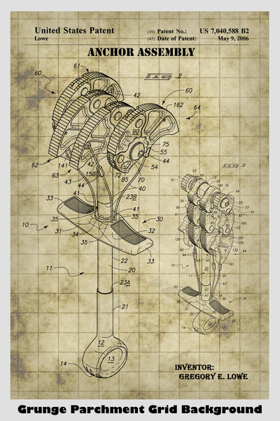Rock Climbing Anchor Assembly Cam Patent Print Art Poster