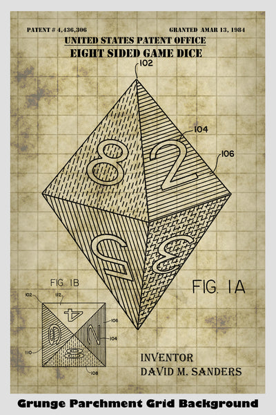 D8 Octagonal Polyhedron Dice For Role Playing Game: Dungeons & Dragons, Pathfinder, MTG, Etc. Patent Print Art Poster