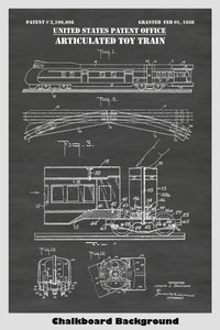 Lionel Articulated Toy Train Locomotive And Car Patent Print Art Poster