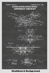 Vintage Sikorsky Amphibian Airplane Patent Print Art Poster