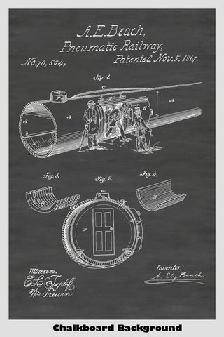 Vacuum Tube Train Railway System Patent Print Art Poster