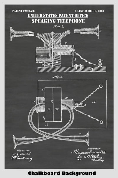 Alexander Graham Bell Speaking Telephone Patent Print