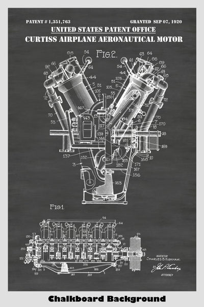 Aeronautical Propeller Airplane Engine Patent Print Art Poster