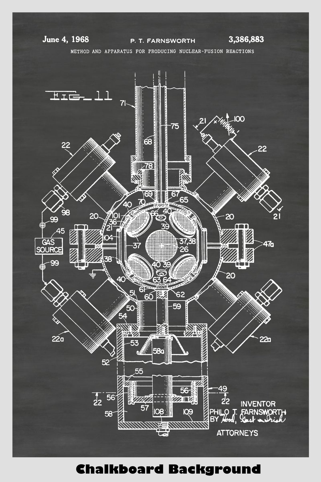 Farnsworth Nuclear Fusion Reactor Patent Print Art Poster