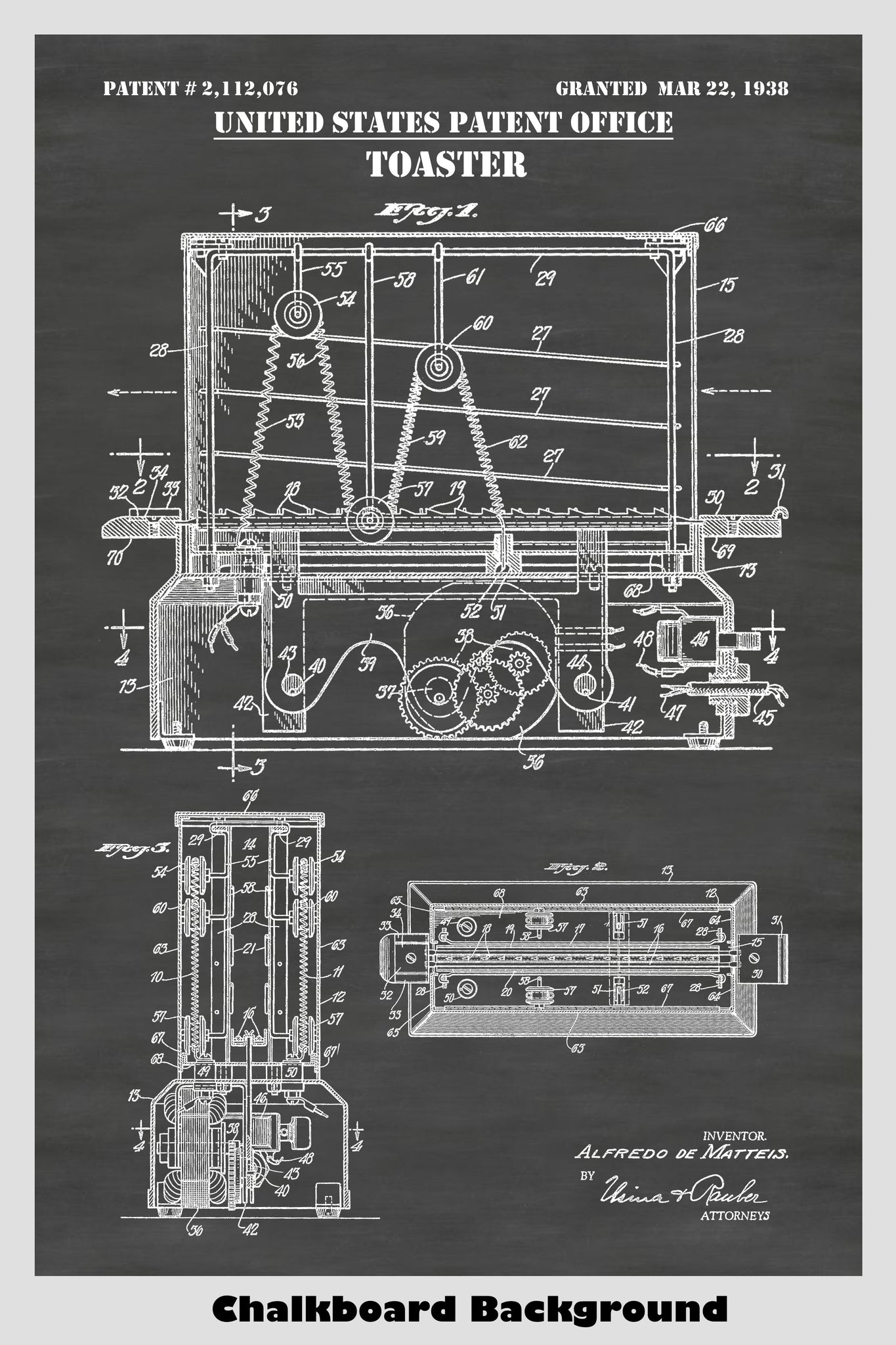 Antique Electric Toaster Patent Print Art Poster