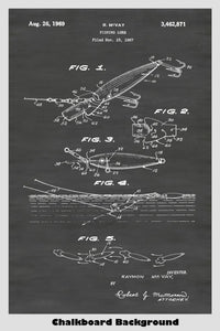 Diving, Casting & Trolling Fishing Lure Patent Print Art Poster