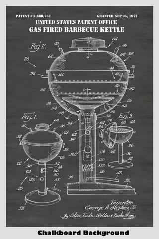 Gas Fired BBQ Kettle Barbecue Grill Patent Print Art Poster