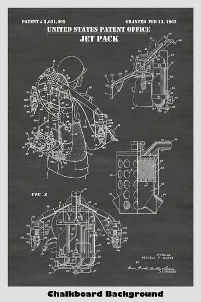 Bell Aerospace Jet Pack (Jetpack) Patent Print Art Poster