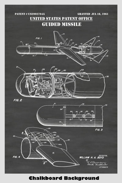 Guided Missile Patent Print Art Poster