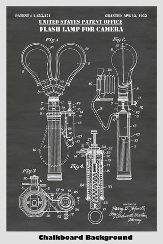 Antique Flash Bulb Lamp For Camera Patent Print Art