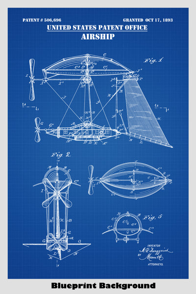 Steampunk Aerial Vessel (Airship) Patent Print Art Poster