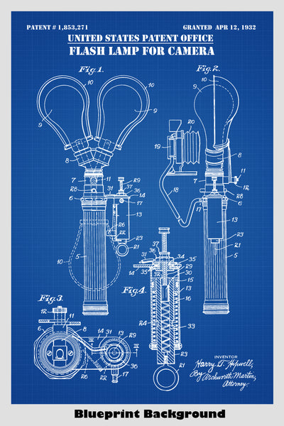 Flash Bulb Lamp For Camera Patent Print Art Poster