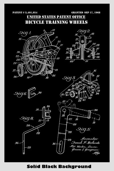 Schwinn Bicycle Training Wheels Attachment Patent Print Art Poster